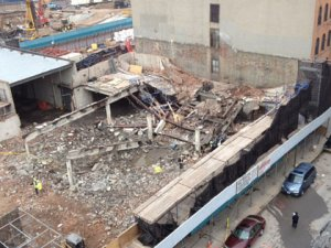 The scene of the collapse at West 130th Street on March 22, 2012. (credit: Kathryn Brown/CBS 2)