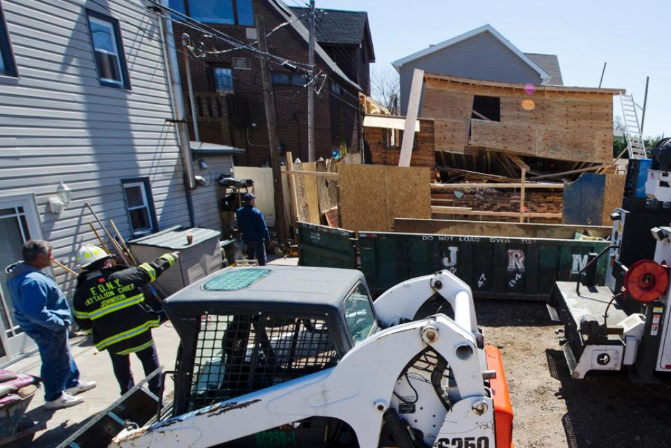 Scene of fatal building collapse in Gerritsen Beach section of Brooklyn.